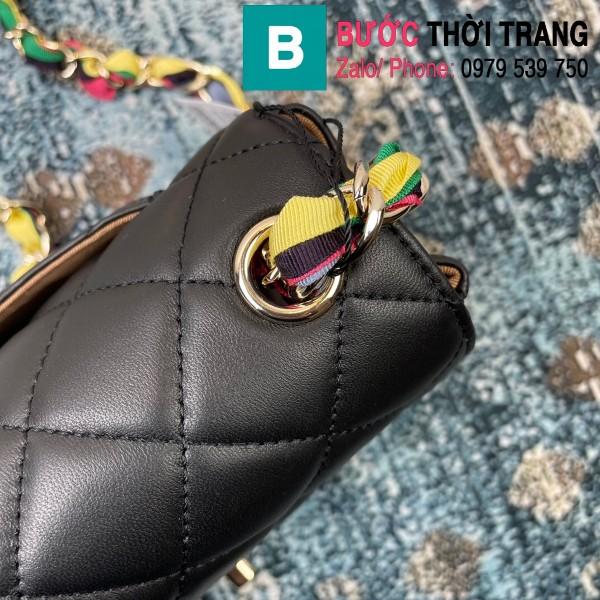 Túi đeo chéo Chanel Mini Bag siêu cấp da bê màu đen size 19.5cm - AS2411