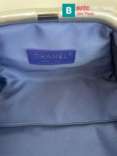 Túi xách Chanel Supple Leather Clutch with chain siêu cấp da bê màu bạc size 22cm - AS2493