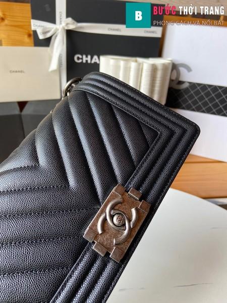 Túi xách Chanel boy siêu cấp màu đen vân v size 25 cm - A67086