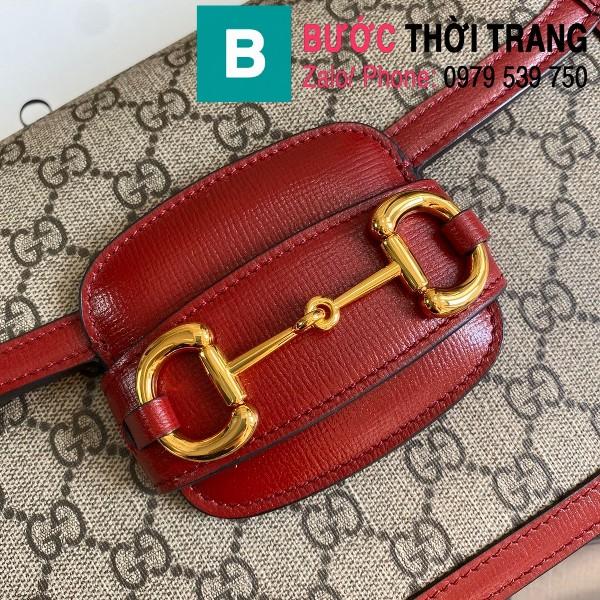 Túi xách Gucci Horsebit 1955 shoulder bag siêu cấp vải casvan viền đỏ size 25cm - 602204