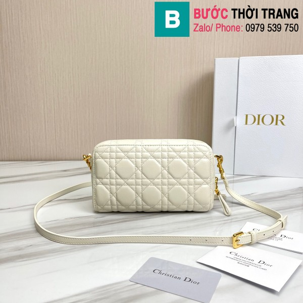 Túi xách Dior caro bag siêu cấp da bê màu trắng size 19cm