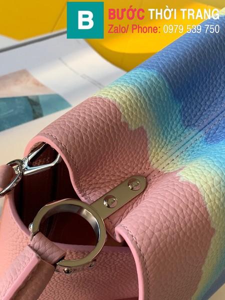Túi xách LV Louis Vuitton Capucines Bag siêu cấp da bê màu hồng xanh size 31cm - M42259
