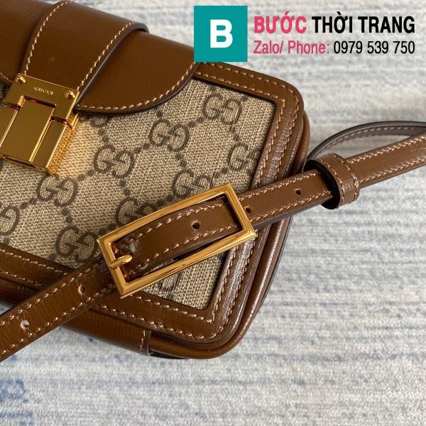 Túi xách Gucci GG mini bag with clasp closure siêu cấp viền nâu size 18 cm - 614368