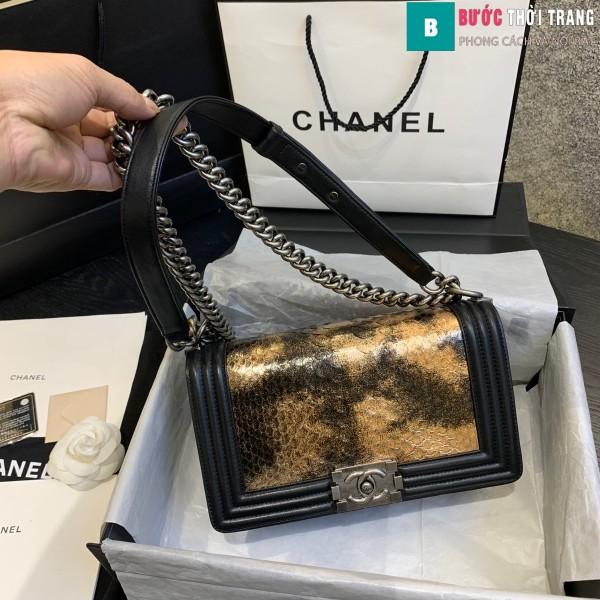 Túi xách Chanel boy siêu cấp da trăn màu đen vàng size 25 cm - A67086