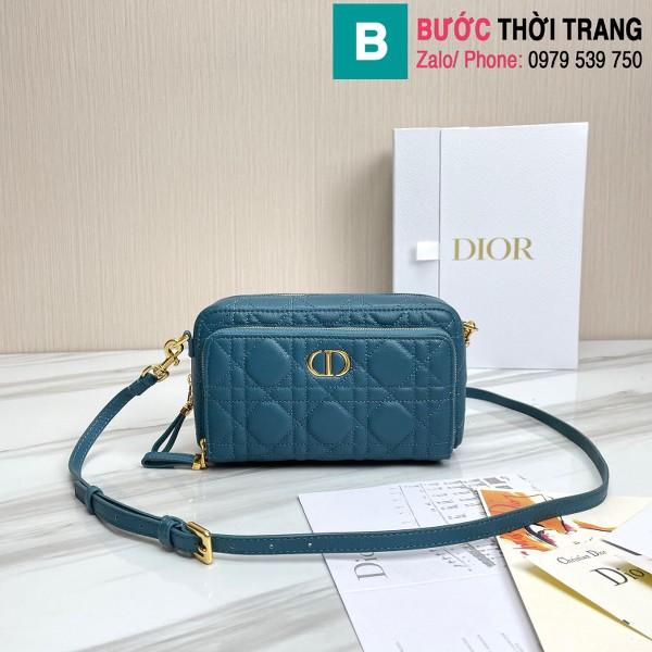 Túi xách Dior caro bag siêu cấp da bê màu xanh đậm size 19cm