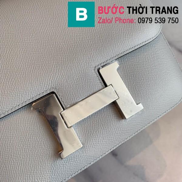 Túi xách Hermes Constance siêu cấp da epsom màu ghi size 18cm