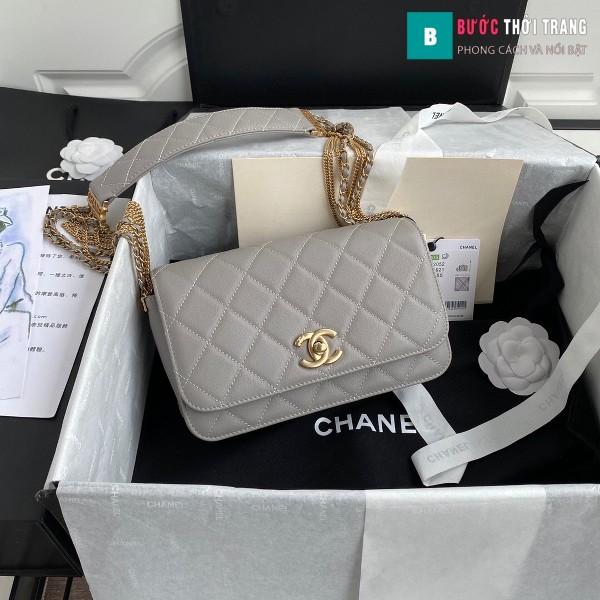 Túi xách Chanel Woke Classic Fap siêu cấp màu xám sáng da cừu size 21 cm - AS2052