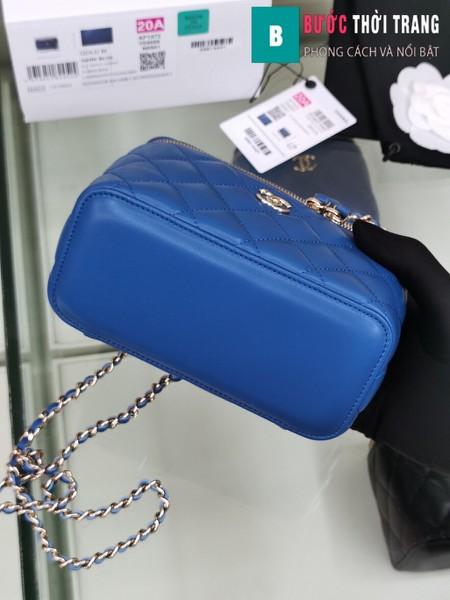 Túi xách Chanel Vanity bag with strap siêu cấp màu xanh size 16 cm - AP1472y