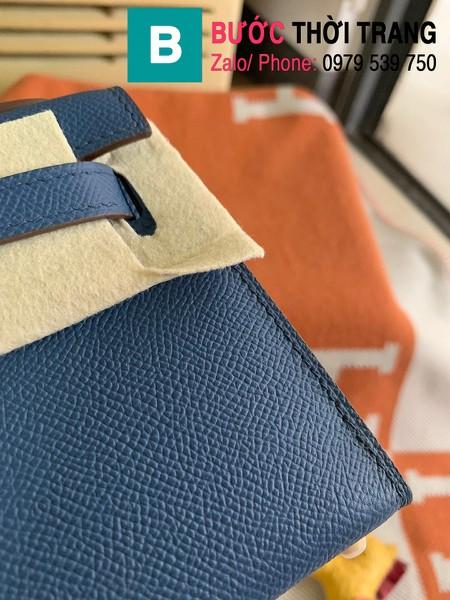 Túi xách Hermes Kelly mini siêu cấp da epsom màu xanh bích lợt size 19.5cm