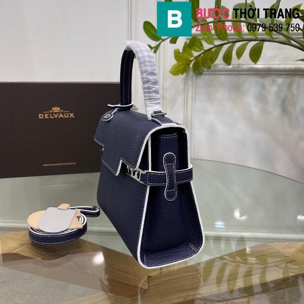 Túi xách Delvaux tempete siêu cấp da bê màu xanh tím than size 21.5cm