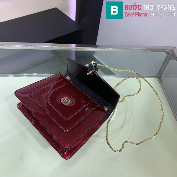 Túi xách Bvlgari serventi forever siêu cấp da bóng màu đỏ đô size 20 cm