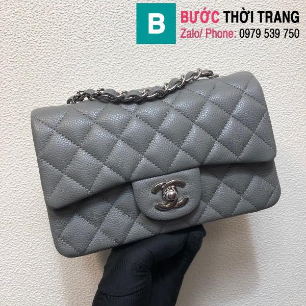 Túi xách Chanel Classic Flap Bag 1116 siêu cấp da bê màu ghi size 20 cm