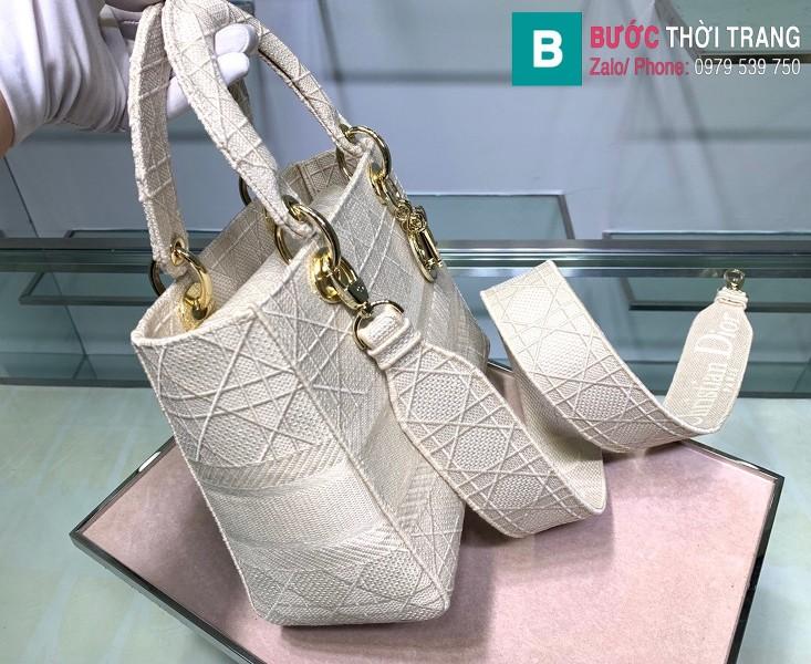 Túi xách Dior Lady vải siêu cấp màu trắng size 24cm