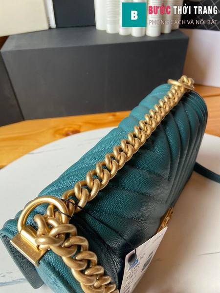 Túi xách Chanel boy siêu cấp vân v màu xanh e size 25 cm - A67086