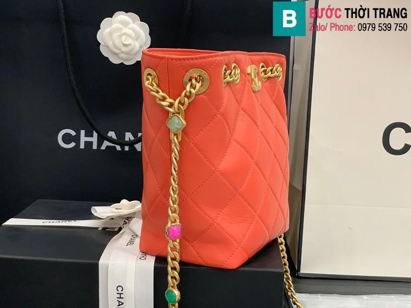 Túi xách Chanel Bag túi dây rút siêu cấp da cừu màu đỏ size 19cm AS2381