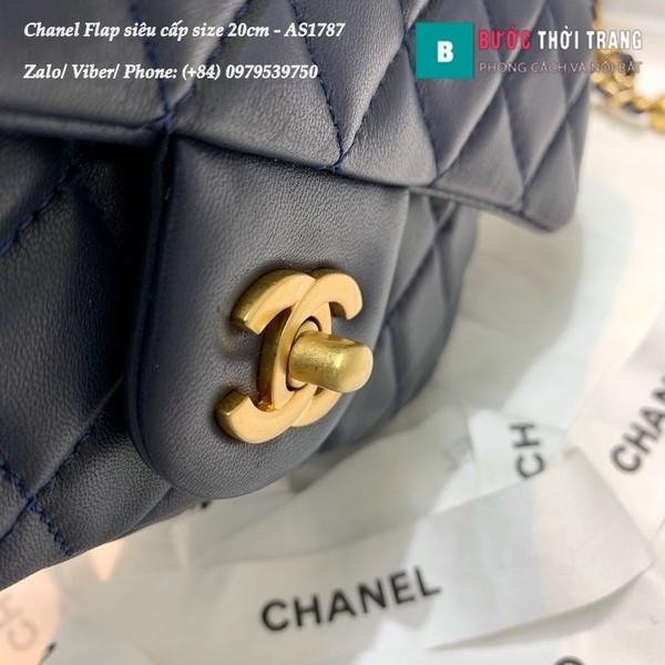 Túi xách Chanel Flap Bag siêu cấp da cừu màu xanh đen size 20cm - AS1787