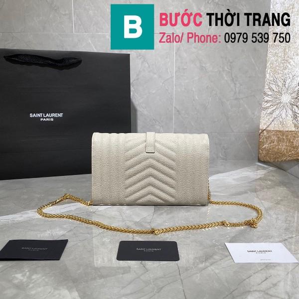 Túi ví tay cầm dây đeo YSL Saint Laurent siêu cấp da bê màu trắng size 22.5cm - 620280
