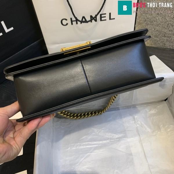 Túi xách Chanel boy siêu cấp da trăn màu đen vàng 2 size 25 cm - A67086