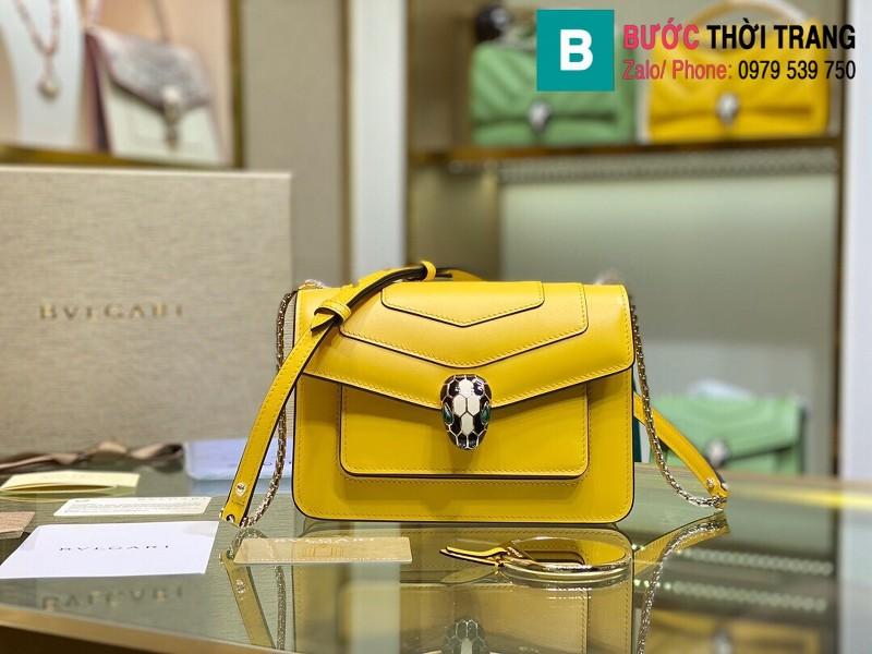 Túi xách Bvlgari Seventi forever siêu cấp da bê màu vàng size 19 cm