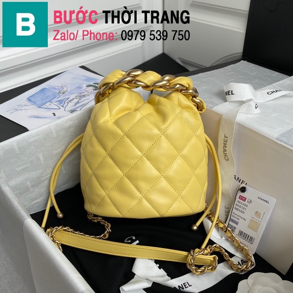 Túi dây rút Chanel siêu cấp da cừu bóng màu vàng size 19cm - AS2390