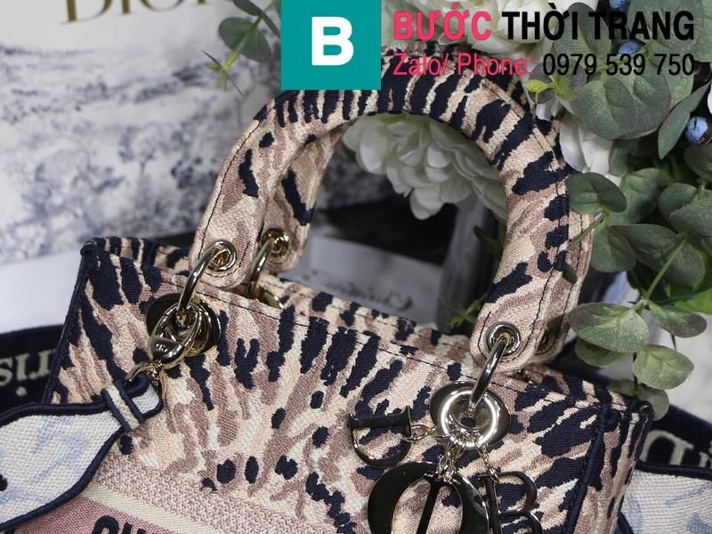 Túi xách Dior Lady siêu cấp vải casvan màu đen hồng size 24cm