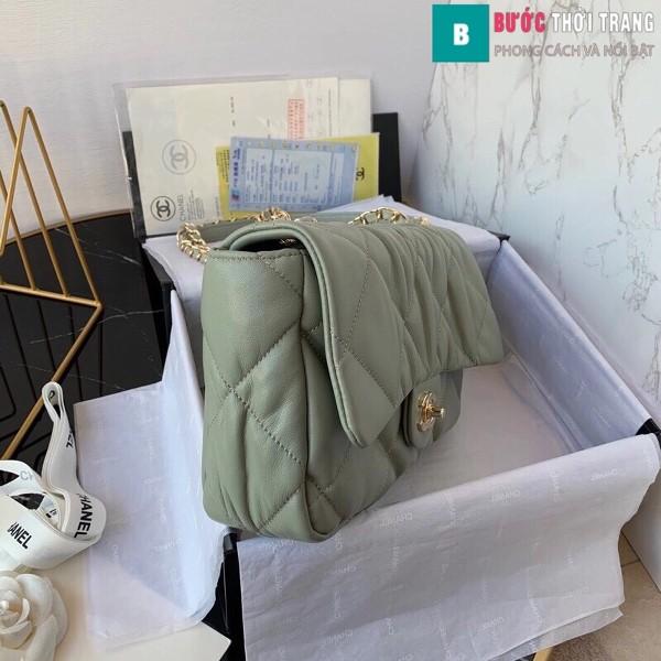 Túi xách đeo chéo Chanel siêu cấp mẫu mới màu xanh rêu size 25 cm
