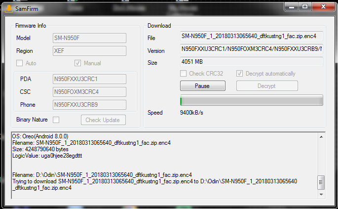 Firmware-update Samsung Galaxy Note8 N950FXXU4CRGA (Multi