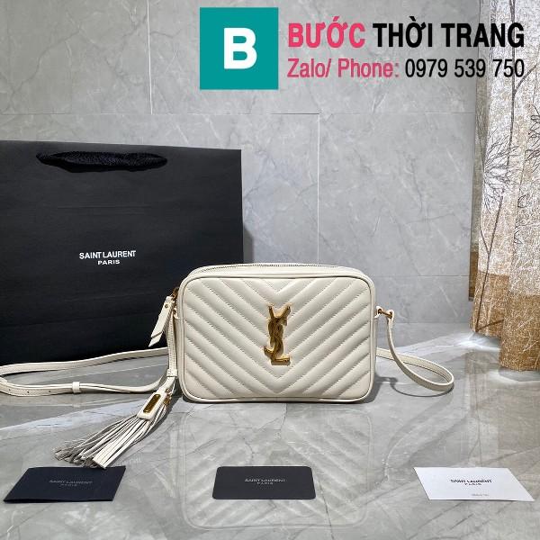 Túi đeo chéo YSL Saint Laurernt Lou siêu cấp da bê màu trắng size 23cm - 520534