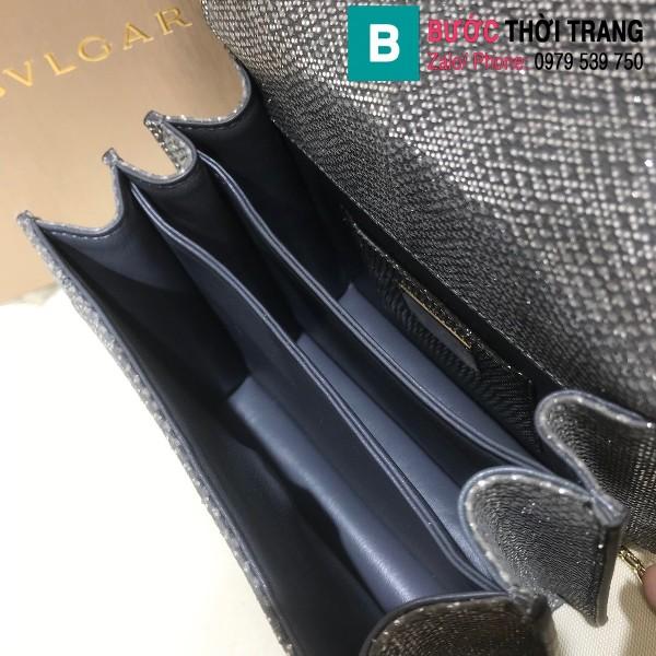 Túi xách Bvlgari serventi forever siêu cấp da rắn màu đen size 18 cm