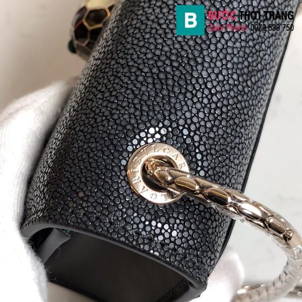 Túi xách Bvlgari serventi forever siêu cấp da cá đuối màu đen size 20 cm