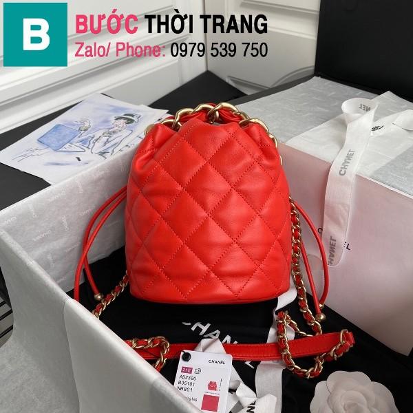 Túi dây rút Chanel siêu cấp da cừu bóng màu đỏ size 19cm - AS2390