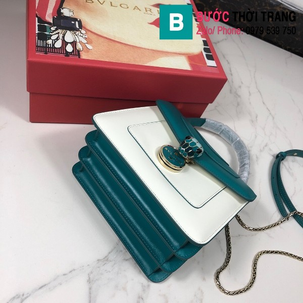 Túi xách Bvlgari serventi forever siêu cấp da bê màu xanh size 18 cm