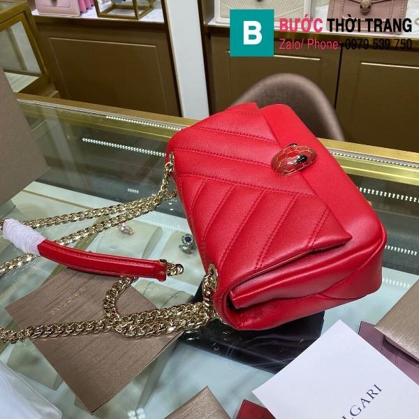 Túi xách Bvlgari Serventi Cabochon siêu cấp da bê màu đỏ size 22cm