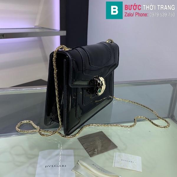 Túi xách Bvlgari serventi forever siêu cấp da bóng màu đen size 20 cm