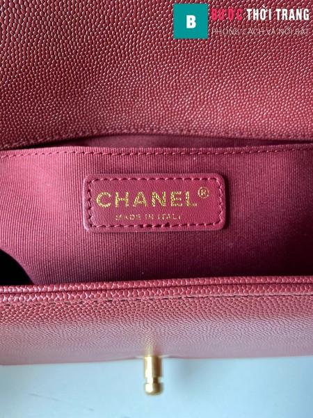 Túi xách Chanel boy siêu cấp vân v màu đỏ đô size 25 cm - A67086