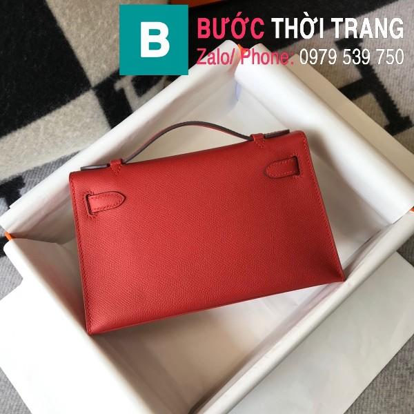 Túi xách Hermes Kelly Pochette siêu cấp da epsom màu đỏ size 22cm