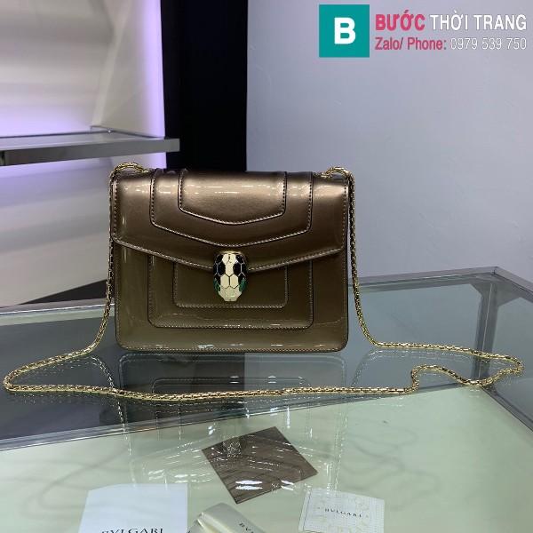 Túi xách Bvlgari serventi forever siêu cấp da bóng màu xám size 20 cm