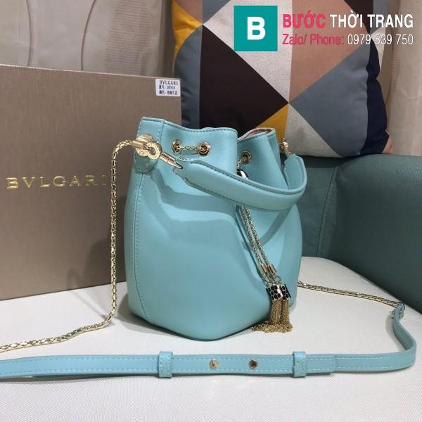 Túi Bvlgari Serventi Forever Bucket bag siêu cấp da bê màu xanh ngọc size 16cm - B287641