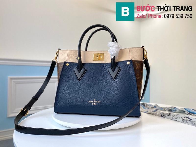 Túi xách Louis Vuitton On My Side siêu cấp da bê màu xanh size 30.5 cm - M55933