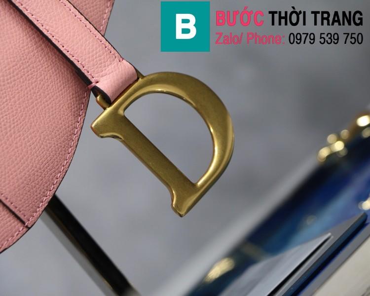 Túi xách Dior Saddle Bag siêu cấp chất liệu da bê màu hồng size 25.5cm