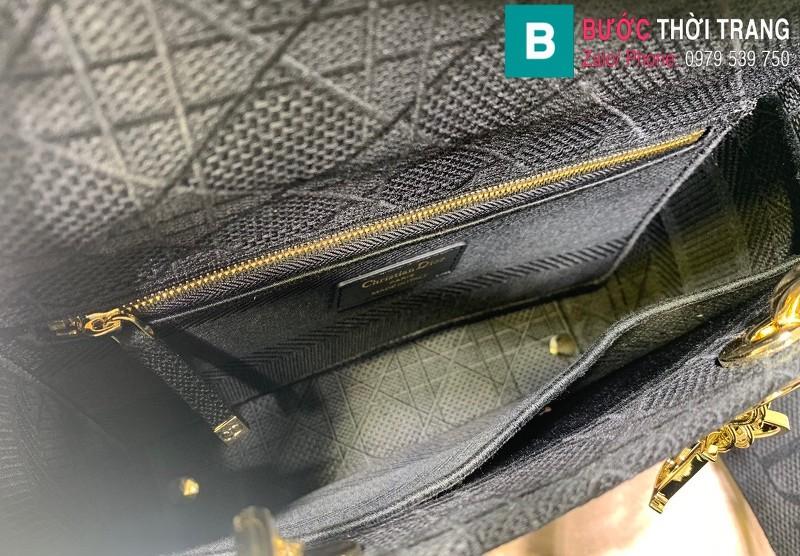 Túi xách Dior Lady vải siêu cấp màu đen size 24cm