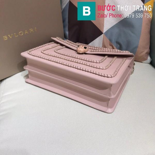 Túi Bvlgari Serventi Forever shoulder bag sieu cấp da bê màu hồng đào size 28cm - 35106