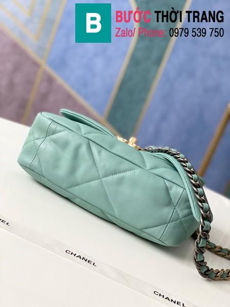 Túi xách Chanel 19 flap bag siêu cấp da bê màu xanh nhạt size 26 cm - 1160
