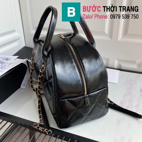 Túi xách Chanel Bowling bag siêu cấp da bê màu đen size 38cm - AS2223