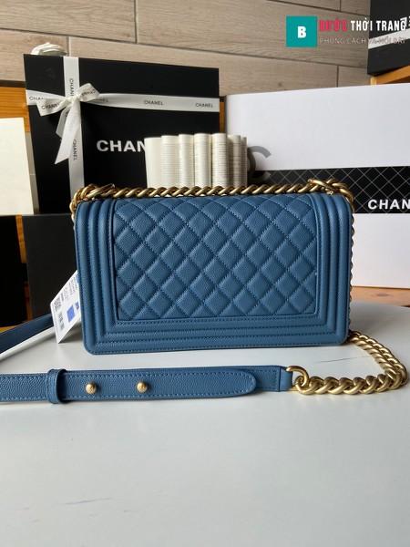 Túi xách Chanel boy siêu cấp màu xanh e size 25 cm - A67086