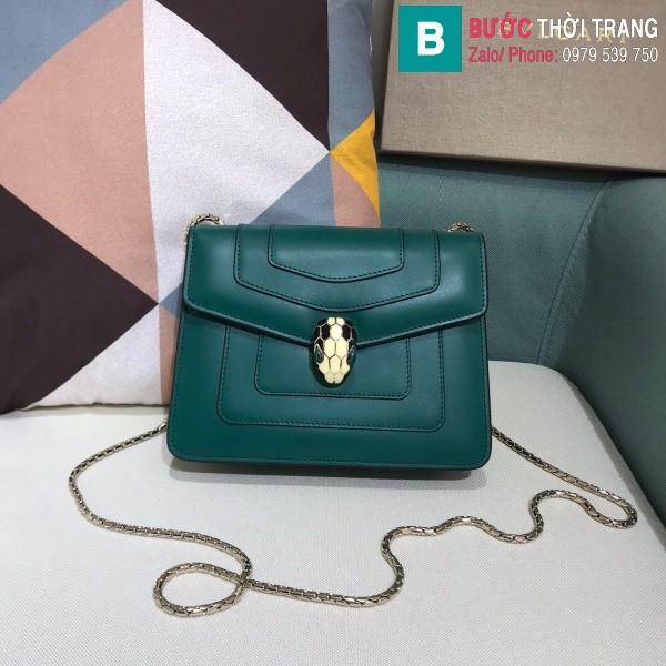 Túi xách Bvlgari serventi forever siêu cấp da bê màu xanh đậm size 20 cm