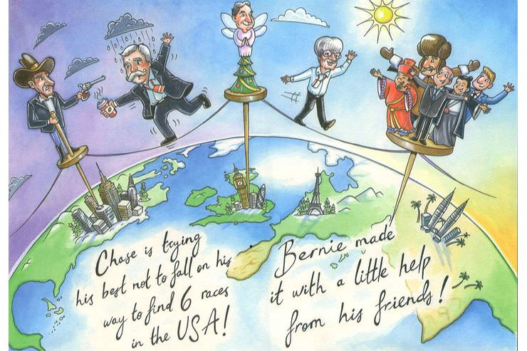 Bernie Ecclestone's 2017 Christmas Card Chase is trying his best not to fall on his way to find six races in the USA! Bernie made it with a little help from his friends!