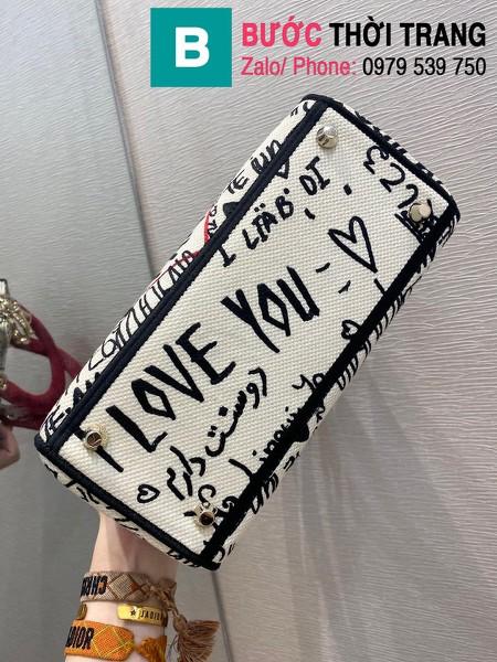 Túi xách Dior Lady siêu cấp vải casvan màu trắng đỏ size 24cm