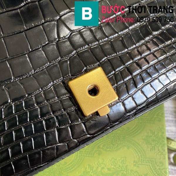 Túi xách Gucci Marmont siêu cấp da bò dập vân cá sấu màu đen size 26cm - 443497