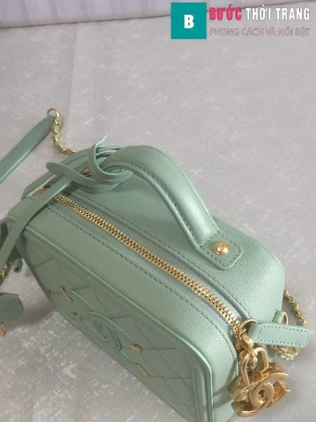 Túi xách Chanel Vanity case bag siêu cấp màu xanh ngọc size 17 cm - 93314